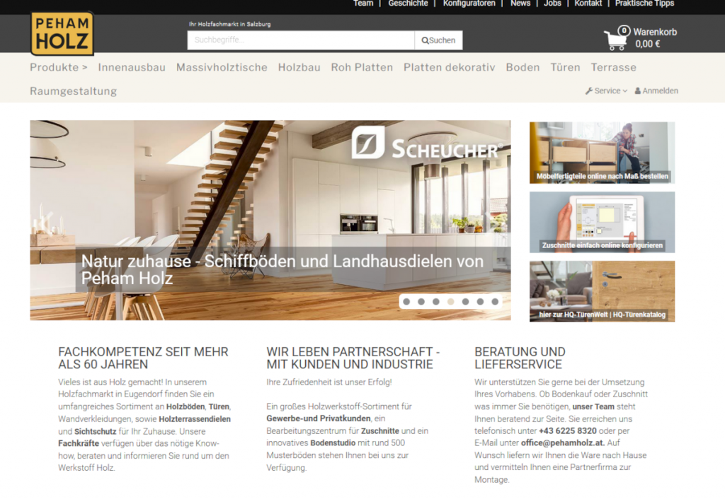 Peham Holz Eugendorf Onlineshop Startseite